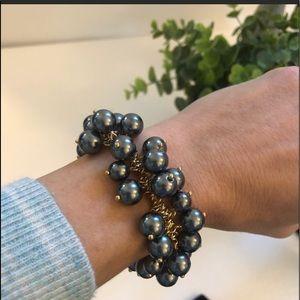 J Crew mini black cluster pearl bracelet NWT